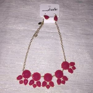 Charming Charlie pink statement necklace &earrings